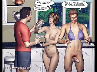 Bisexual Comics - DESPERATE HUSBANDS 3D Bisexual MMF Cartoon Animated Comics