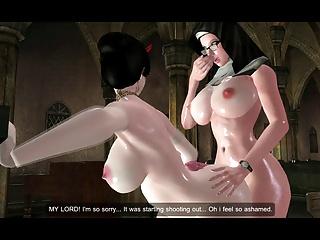Futanari Nun Fucking A Bride (huge Boobs)