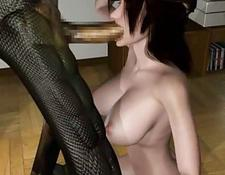 Busty 3D Hentai Slut Riding Cock