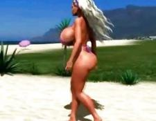 3D Beach Babe With Mega Boobs!