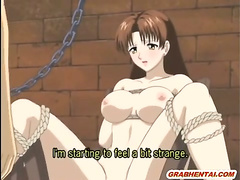 Chained Anime Brunette Gets Dildoed Pussy And Hot Sucking Stiff